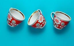 Retro ceramiczne filiżanki zdjęcia stock