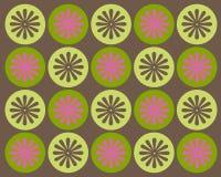 Retro cerchi e disegno grafico dei fiori Fotografia Stock Libera da Diritti