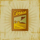 Retro Cereal Box. In woodcut style. Decorative  illustration Royalty Free Stock Photo