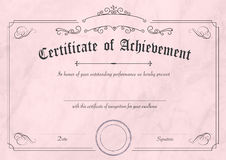 Retro certificate of achievement paper template with modern past. A3 international paper size - Classic and retro certificate of achievement paper template with Stock Photography
