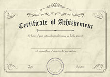 Retro certificate of achievement paper template with modern past. A3 international paper size - Classic and retro certificate of achievement paper template with Royalty Free Stock Photography