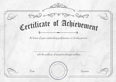 Retro certificate of achievement paper template with modern whit Royalty Free Stock Photo