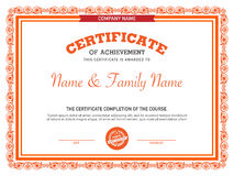 Retro certificate design template. Stock Photo