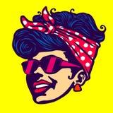 Retro chłodno dziewczyny twarzy okularów przeciwsłonecznych rockabilly fryzura ilustracji