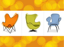 Retro Chair Trio (Vector). Three stylized retro revival comfy chairs on a colorful orange background. Easy-edit layered vector file--No transparencies or strokes Stock Photo
