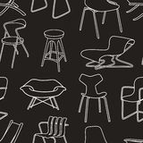 Retro chairs seamless pattern of furniture on blac vector illustration