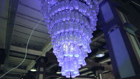 Retro chandelier made of bottles stock video footage
