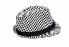 Retro Checkered Fedora Hat. Isolated on a white background Royalty Free Stock Photo