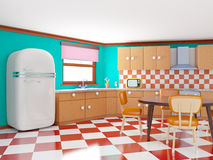 Retro checkered kitchen. Retro kitchen in cartoon style with checkered floor. 3d illustration Stock Photography