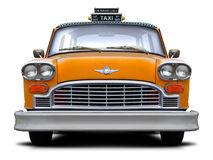 Retro checkered New York yellow taxi front view. Stock Photo