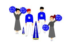 Retro cheerleaders. Cheerleaders from yesteryear with megaphone and poms Stock Image