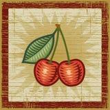 Retro cherry. Retro cherries on wooden background. Vector illustration in woodcut style Stock Photos