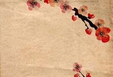 Retro cherry blossom. Illustration of cherry blossom flowers on vintage paper Stock Photo