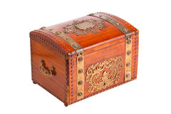 Retro chest. Vintage wooden chest, trunk, isolated Stock Photography