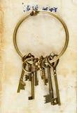 Retro chiavi dell'ottone del fondo Immagine Stock Libera da Diritti