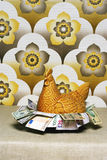 Retro chicken shaped container full of Euros wallpaper Stock Photo