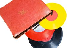 Retro Children's Records/Album. Old records with a record album , from the 1940's-50's. Some are musical some are stories royalty free stock image