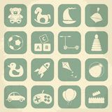 Retro children's toys icon set. Vector Stock Photography