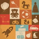 Retro children's toys icon set. Vector Royalty Free Stock Images