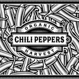 Retro Chili Pepper Harvest Label Black And White Royalty Free Stock Image