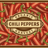 Retro Chili Pepper Harvest Label Royalty Free Stock Images