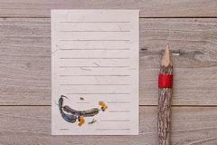 Retro Chinese aboriginal stock photography flat lay vintage pape. R note message wooden plank pencil Stock Photo