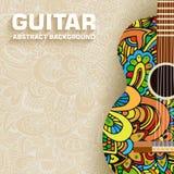 Retro chitarra astratta di musica sui precedenti di illustrazione vettoriale