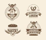 Retro chlebowi piekarnia starego stylu logowie przylepiają etykietkę odznaka emblematy ilustracja wektor