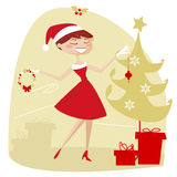 Retro christmas. Retro style christmas, vector illustartion Stock Image