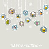 Retro Christmas background with Christmas balls. With cute houses Royalty Free Stock Photo