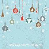 Retro Christmas background with decorative balls. On blue background Stock Photos