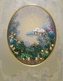 Retro Christmas background ,pine branches Stock Photo