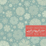 Retro christmas background with snowflakes and lab Royalty Free Stock Images