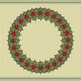 Retro Christmas background with a wreath of holly. Stock Photo
