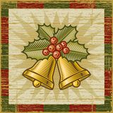 Retro Christmas bells. On wooden background. Vector illustration in woodcut style Stock Photography