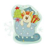 Retro Christmas Bunny Card Royalty Free Stock Images