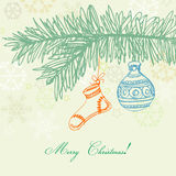 Retro Christmas card. Hand drawn Christmas background in retro style Royalty Free Stock Photography