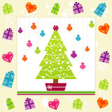 Retro Christmas Card. With tree, ornaments, snowflakes and gifts Stock Photos