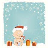 Retro Christmas card with baby Santa Royalty Free Stock Image