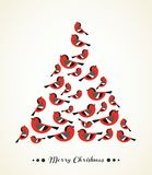 Retro Christmas Card - Birds as a tree. Retro Christmas Card - Birds on Christmas Tree - for invitation, congratulation in Royalty Free Stock Photo