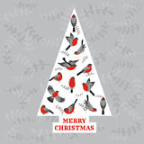 Retro Christmas Card - Birds on Christmas Tree Royalty Free Stock Photography
