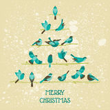 Retro Christmas Card - Birds on Christmas Tree Stock Images