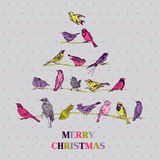 Retro Christmas Card - Birds on Christmas Tree Royalty Free Stock Photo