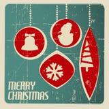 Retro Christmas card with christmas decorations stock image