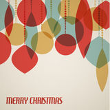 Retro Christmas card with christmas decorations. Teal, brown and red vector illustration