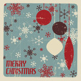 Retro Christmas card with christmas decorations royalty free illustration