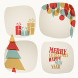 Retro Christmas card with christmas tree, gifts and decorations Stock Image