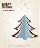 Retro Christmas card with christmas tree. Royalty Free Stock Images