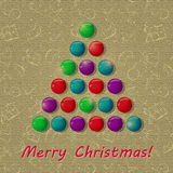 Retro Christmas Card with Colorful New Year Tree Stock Photo