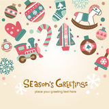 Retro Christmas card with cute ornaments. Stock Photos